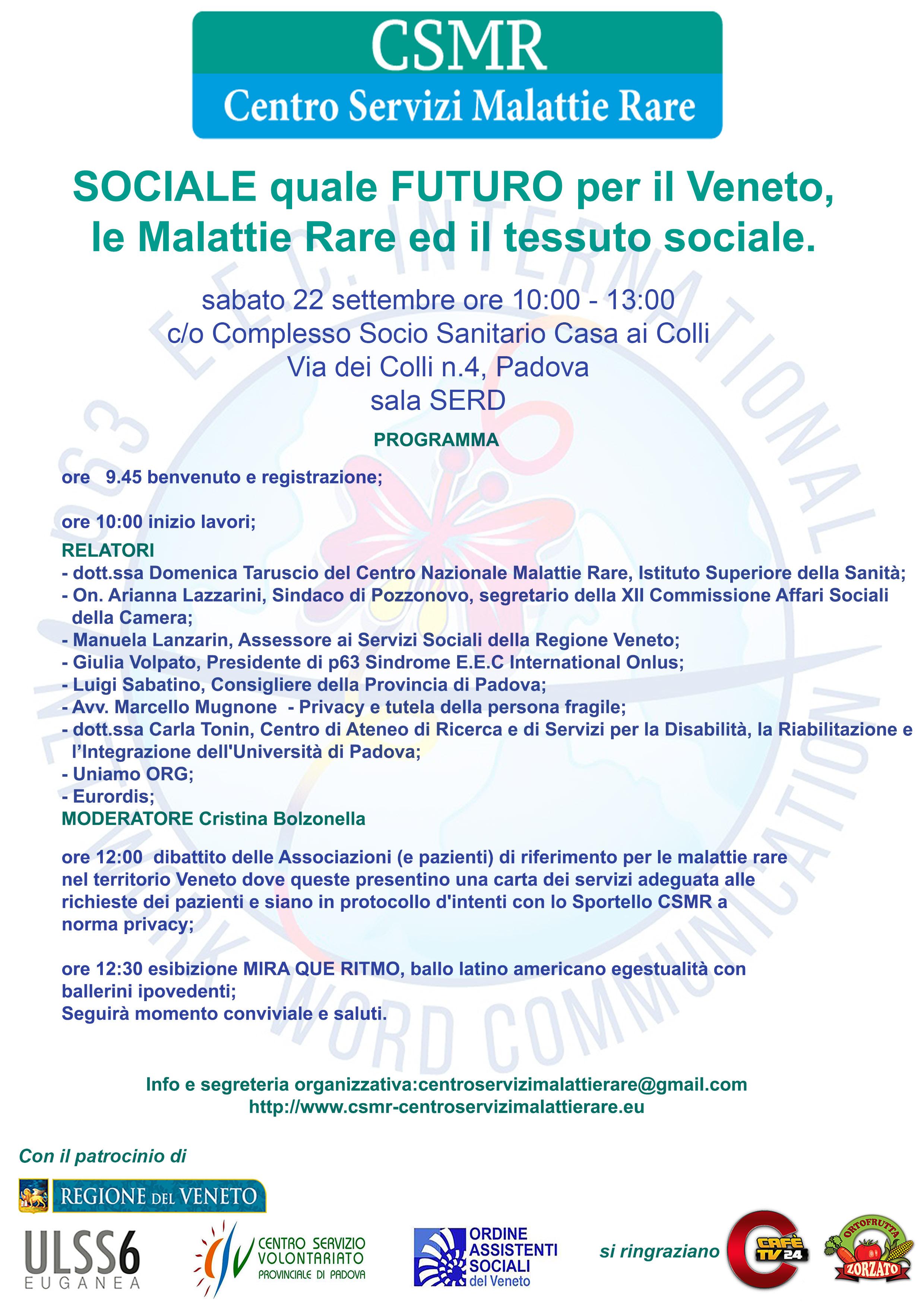 SOCIALE quale FUTURO per il Veneto, le Malattie Rare ed il tessuto sociale
