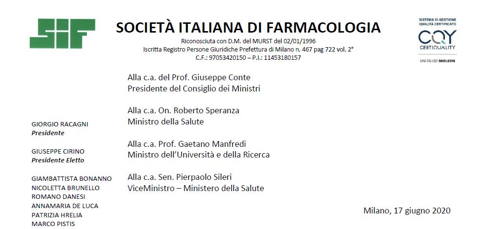 Comunicato congiunto SIF (Società Italiana di Farmacologia)