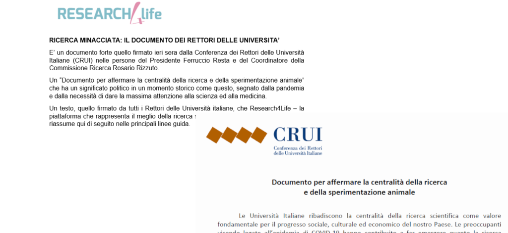 La nota di Research4Life sul documento CRUI