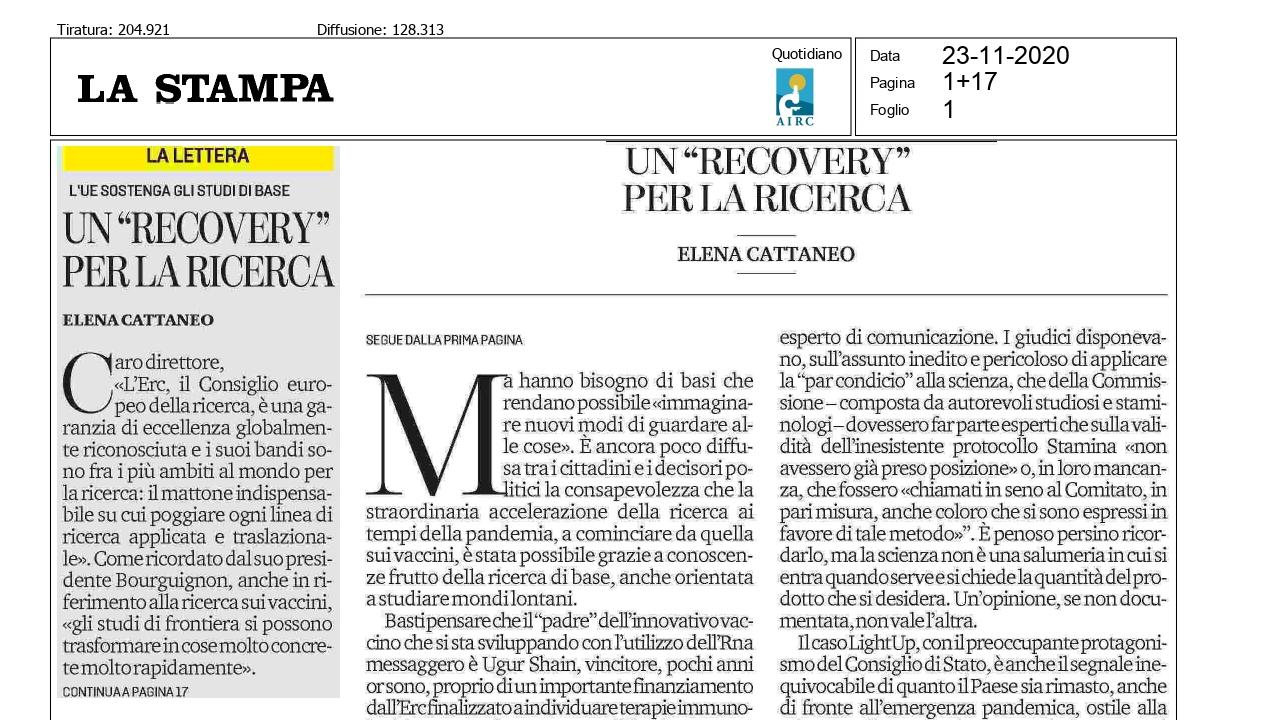 """Un """"recovery"""" per la ricerca (di Elena Cattaneo su """"La Stampa"""")"""