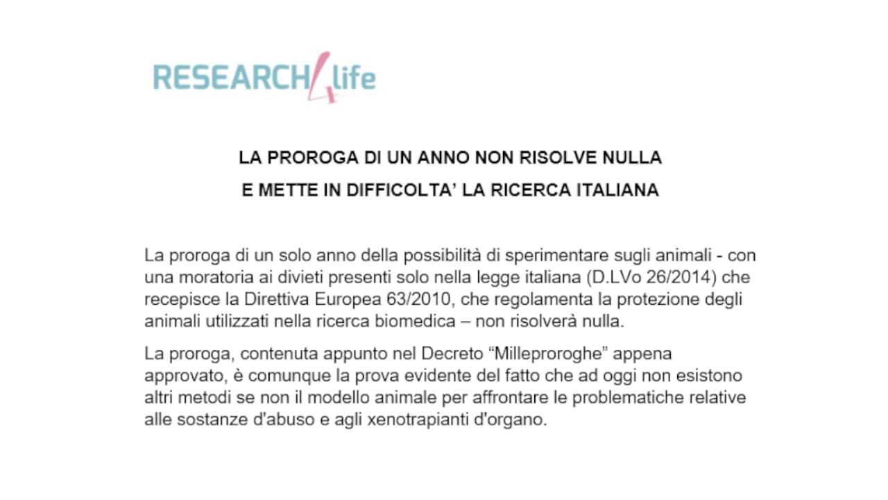 La proroga di un anno non risolve nulla e mette in difficoltà la ricerca Italiana
