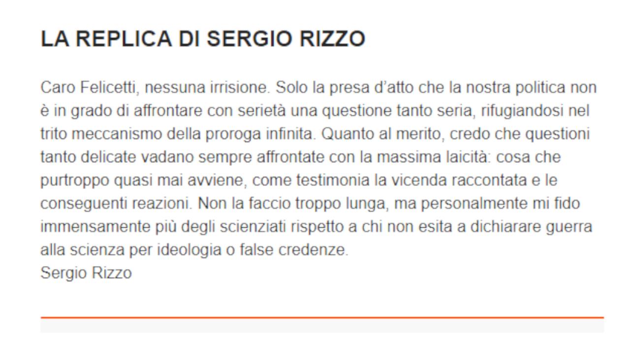 La replica di Sergio Rizzo alle accuse della LAV